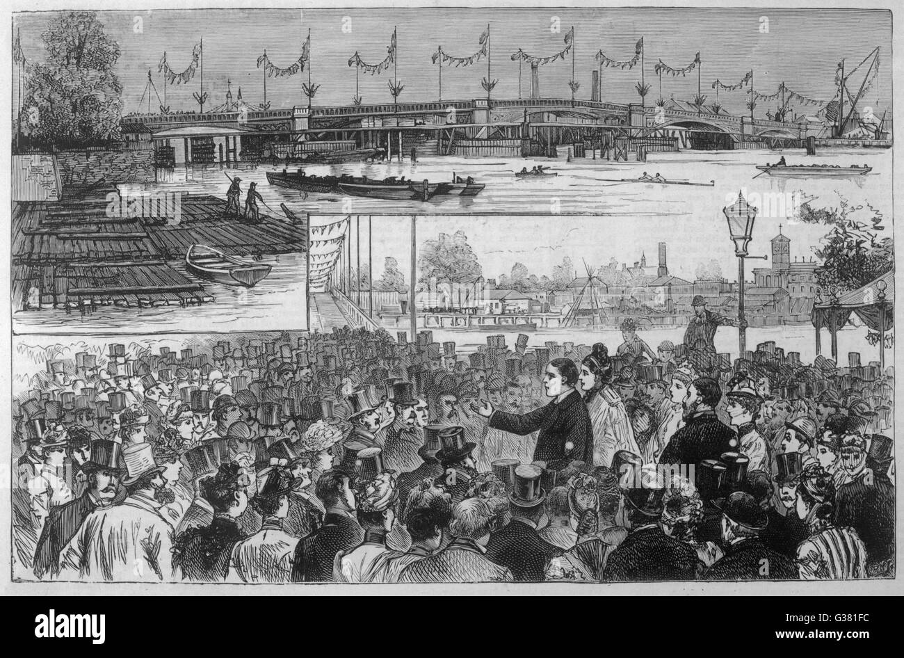 Opening of the bridge by the  Earl of Roseberry.        Date: 21st July 1890. - Stock Image