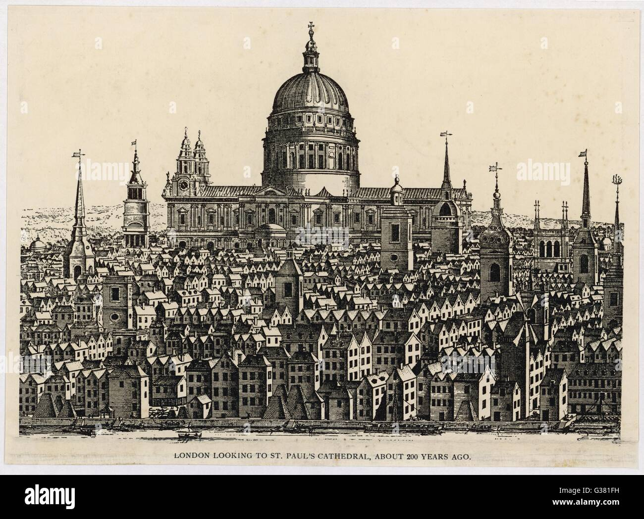 London looking to St Paul's  Cathedral        Date: circa 1740 - Stock Image