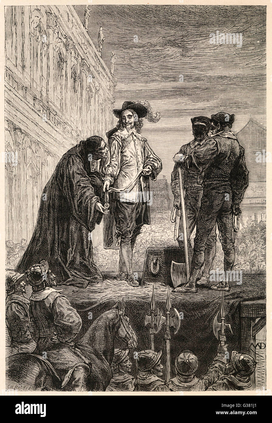 Charles I on the scaffold at  Whitehall prepares to be  beheaded        Date: 30 January 1649 - Stock Image