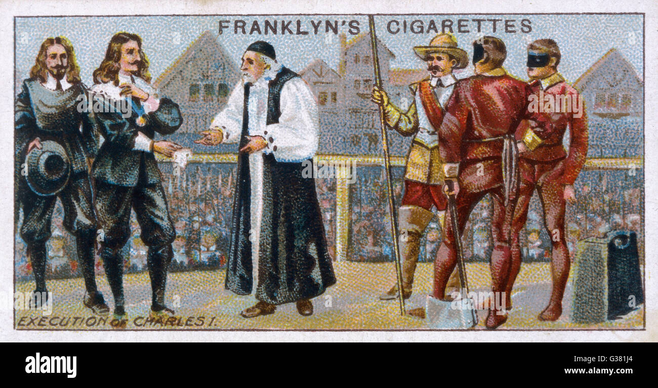 Charles I on the scaffold, Whitehall         Date: 30 January 1649 - Stock Image