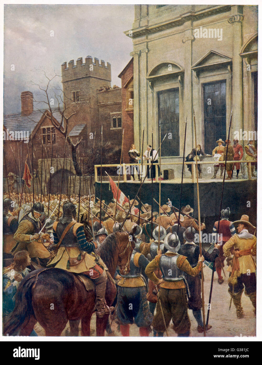 Charles I on the scaffold  at Whitehall         Date: 30 January 1649 - Stock Image