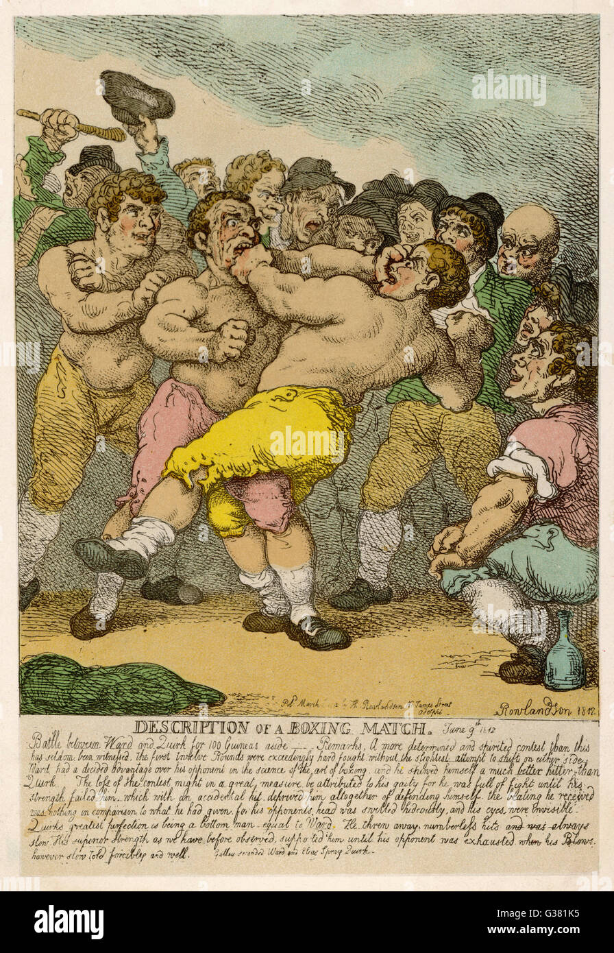 Description of a boxing match  between Ward and Quirk         Date: 1812 - Stock Image