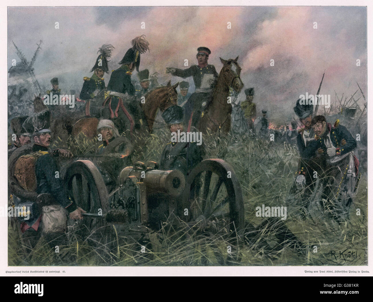 Gneisenau at the battle of  LIGNY, where Napoleon defeats  Blucher's Prussians       Date: 16 June 1815 - Stock Image