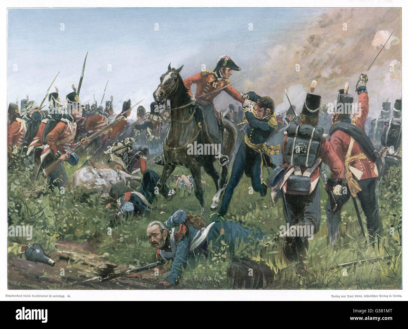 Colonel Hugh Halkett captures  the French general Cambronne         Date: 18 June 1815 - Stock Image