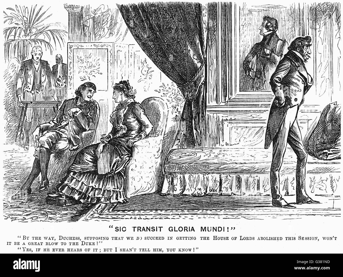 Comment on the aristocracy - discussing the abolition of  the House of Lords       Date: 1884 - Stock Image