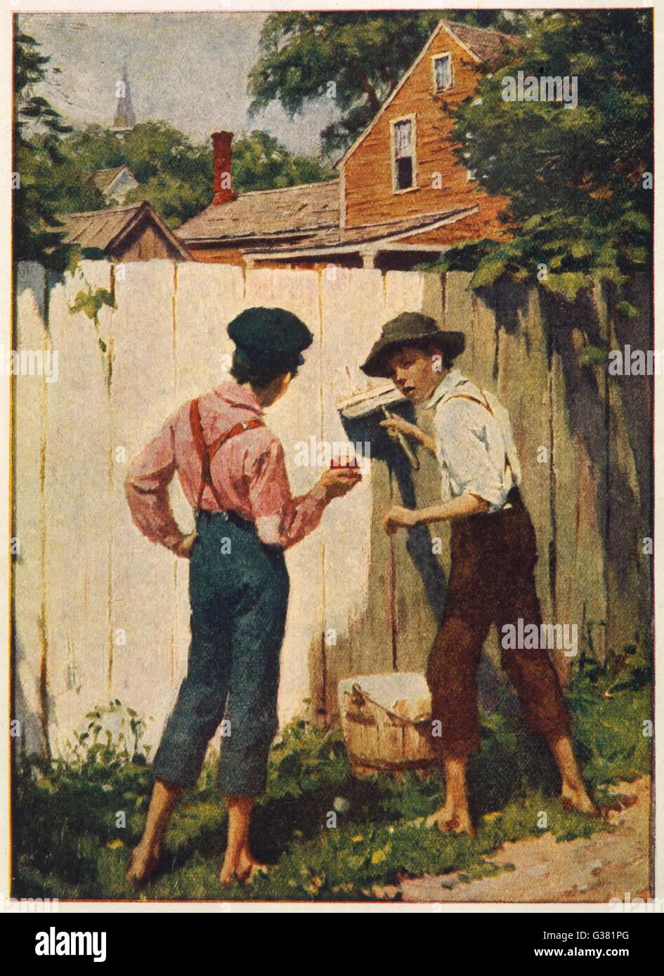 Tom Sawyer: Tom and Joe tell their adventures - Stock Image