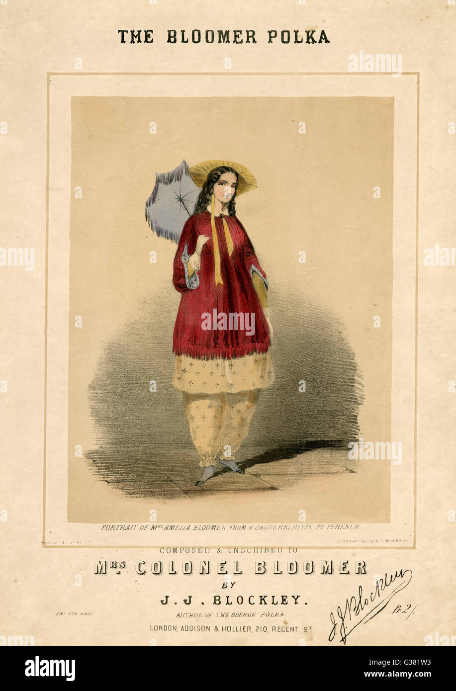 'The Bloomer Polka'          Date: 1850s - Stock Image