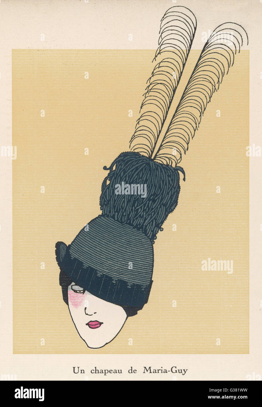 A hat by Maria-Guy with a very  long feather, worn at an angle         Date: 1913 - Stock Image