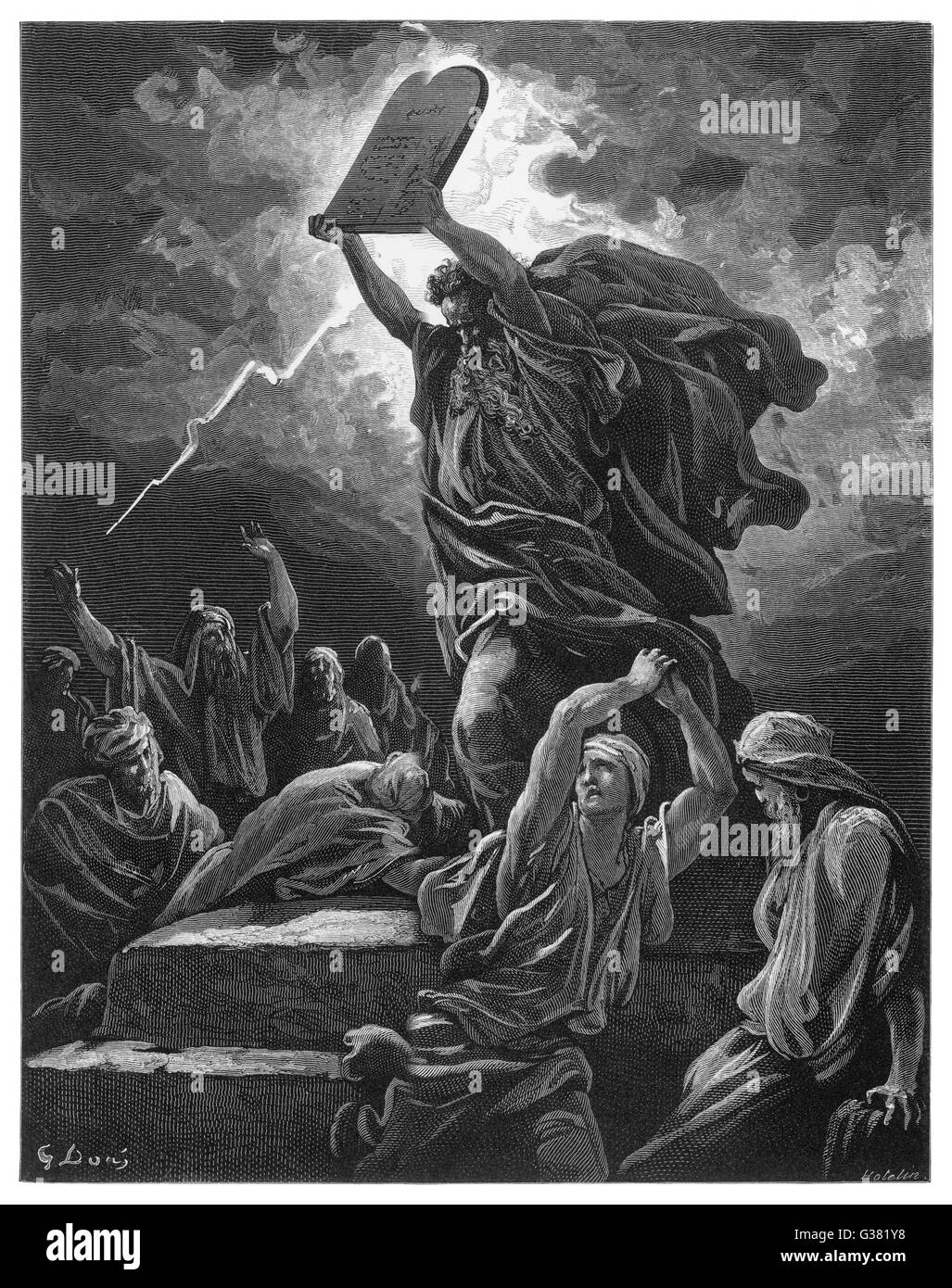 He breaks the Tables of the  Law because during his absence  the Israelites have gone  whoring after strange gods Stock Photo