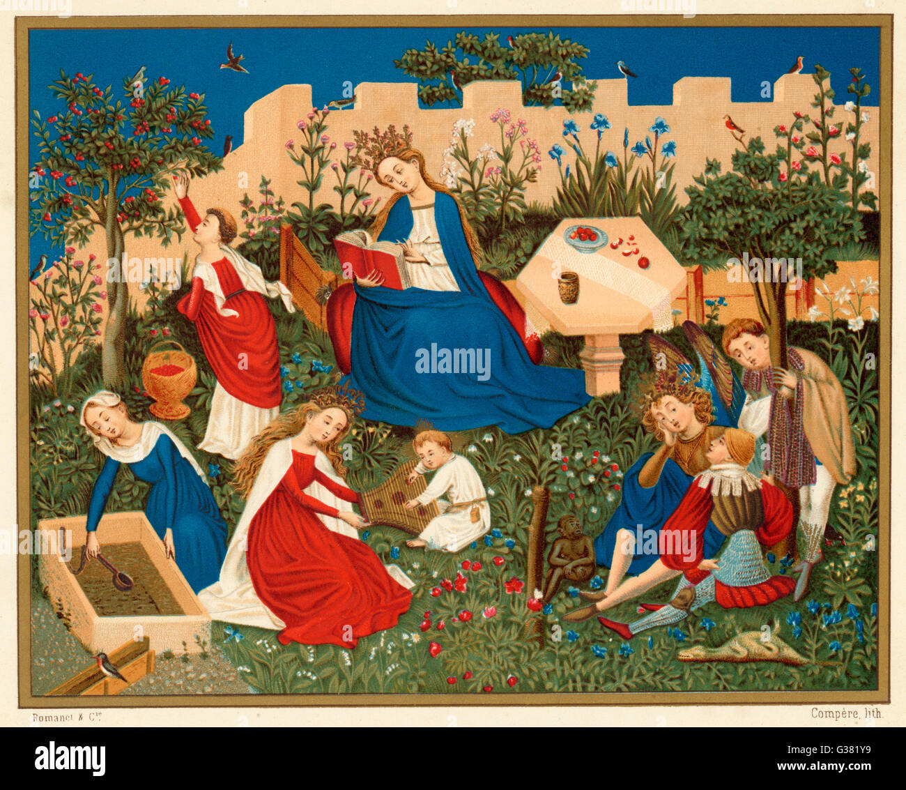Heaven depicted as a walled  garden, with the Virgin Mary  reading a book, saints, an  angel, a monkey and a dead Stock Photo