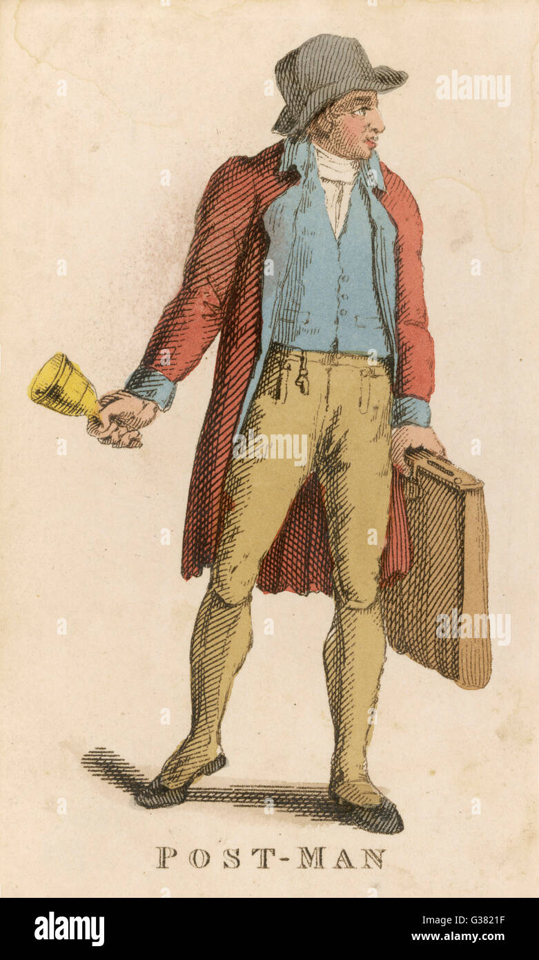 The bellman, or postman, rings his bell to let you know that the letters are about to go       Date: 1823 - Stock Image