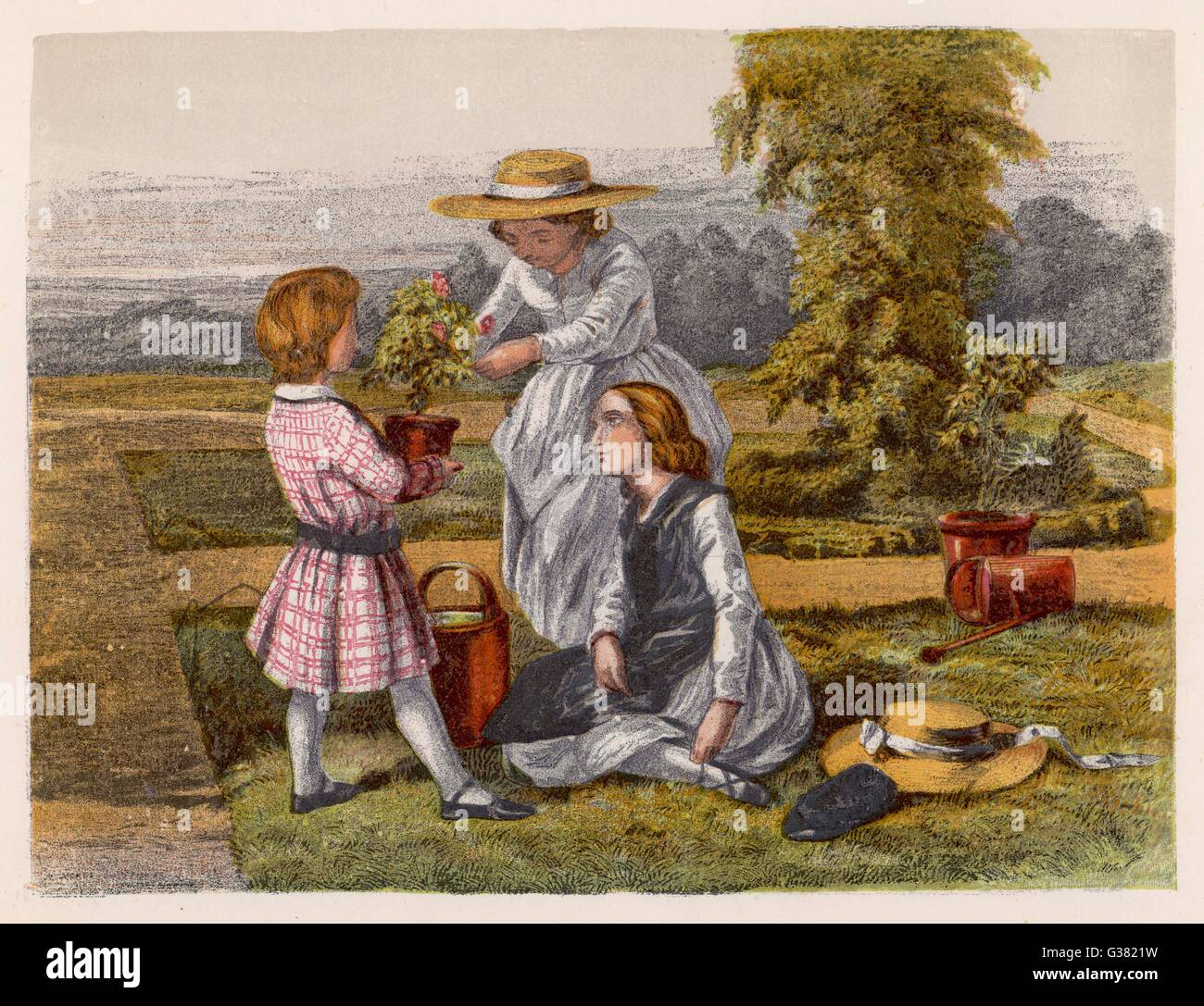 Three children with potted plants in a garden on a  summers day        Date: circa 1850 - Stock Image