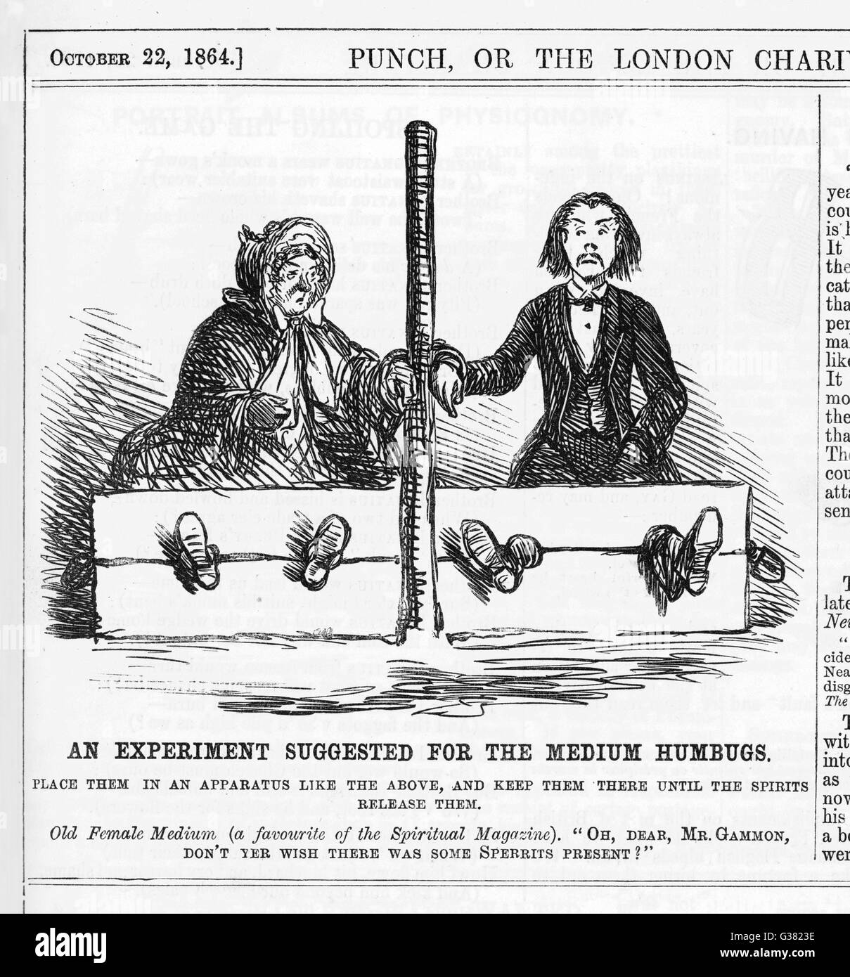 Mediums should be put in the  stocks until they are released  by their friends the spirits        Date: 1864 - Stock Image