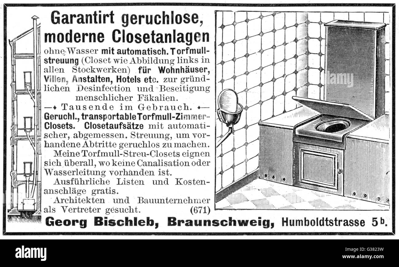 Waterless closet - thousands  already in use - it uses  domestic garden peat instead        Date: 1900 - Stock Image