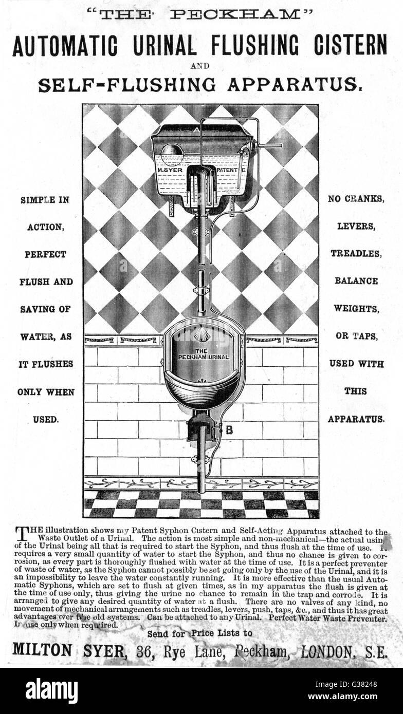 Milton Syer's 'Peckham' urinal          Date: 1889 - Stock Image