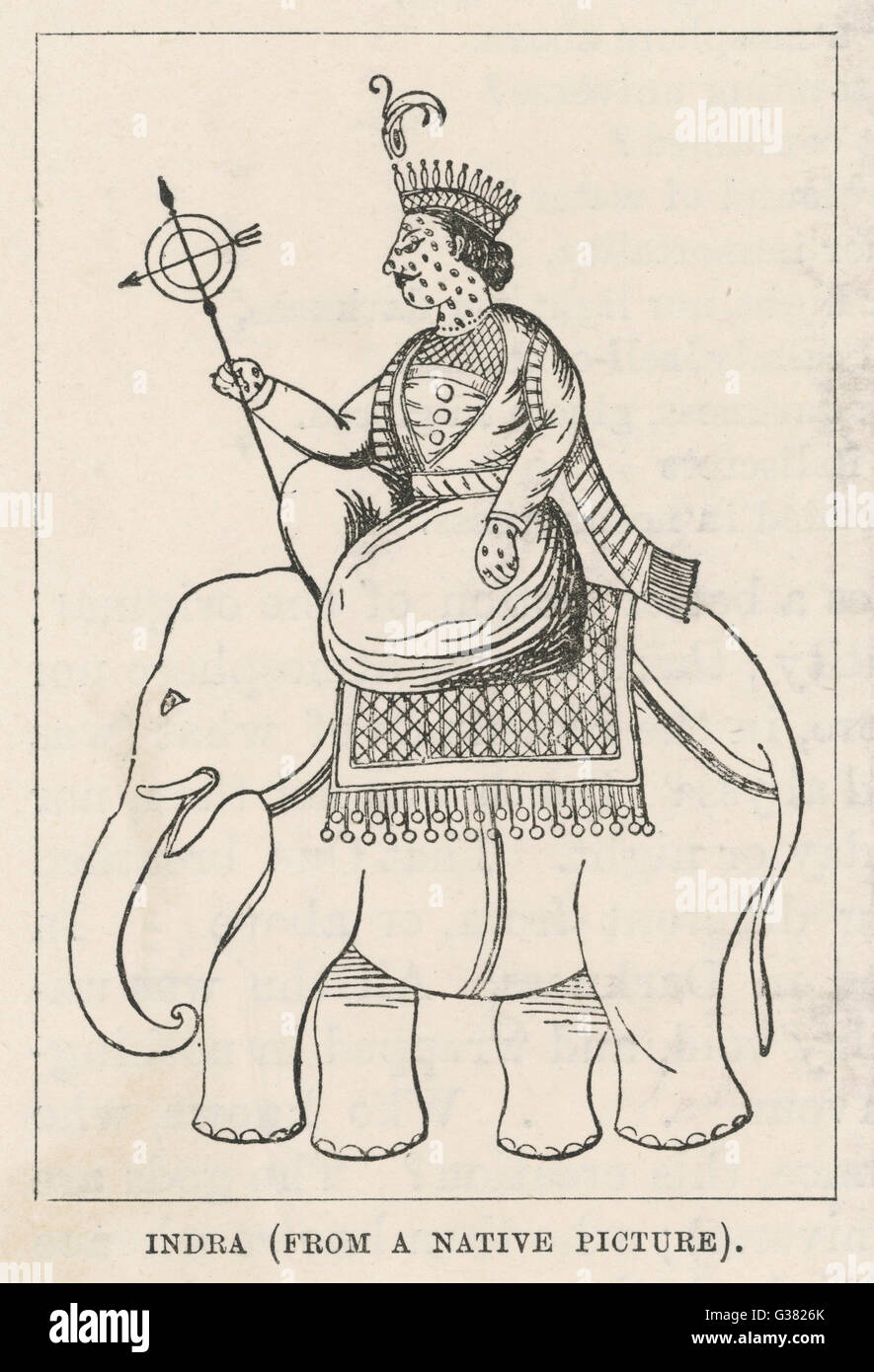 Indra, King of the hindu gods  in an early collection of  hymns, the Rig Veda.  He had  authority over the sky ; - Stock Image
