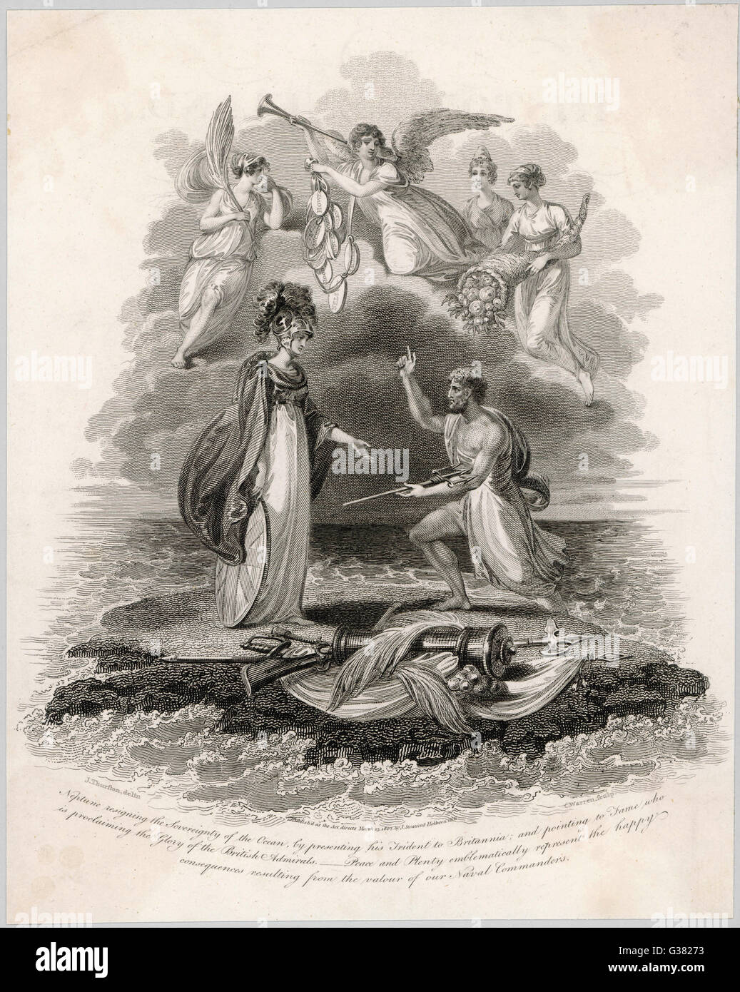Britannia receives Neptunes's trident, symbolising Britain's sovereignty of the the sea       Date: 1802 - Stock Image