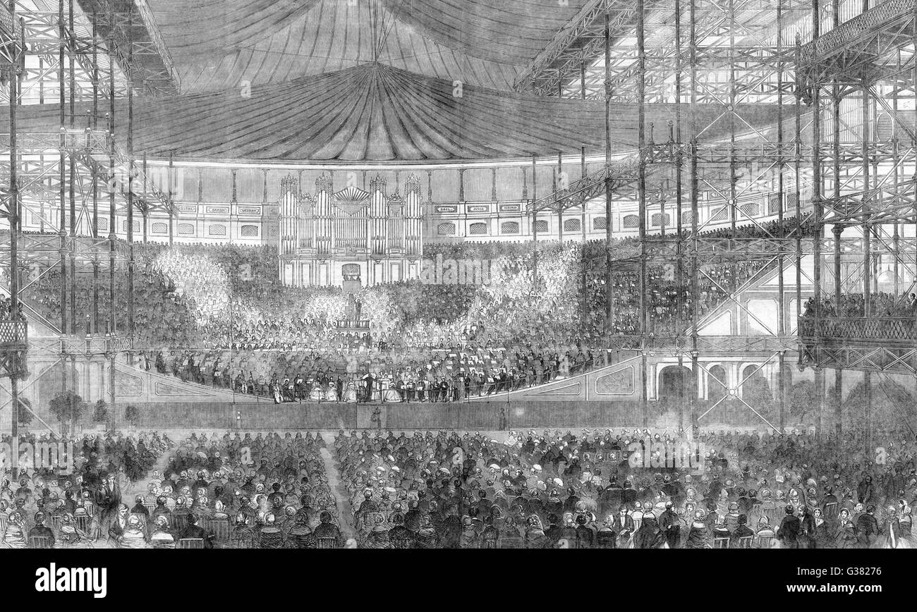 A Festival of Handel's music  at the Crystal Palace,  Sydenham, London.       Date: 1859 - Stock Image