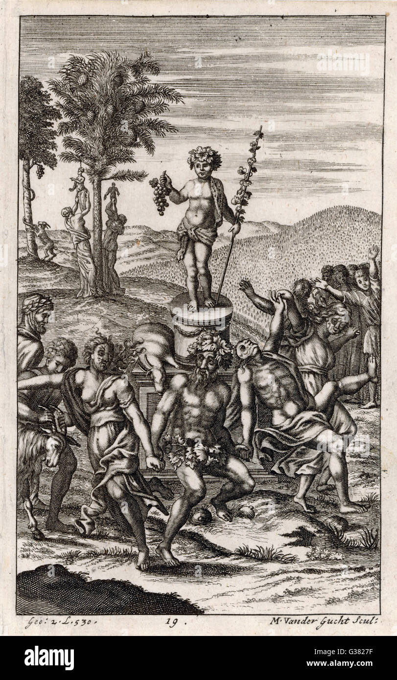 Country folk celebrate a  festival in honour of the God  of wine: Bacchus. (Greek: Dionysus)       Date: First published: - Stock Image