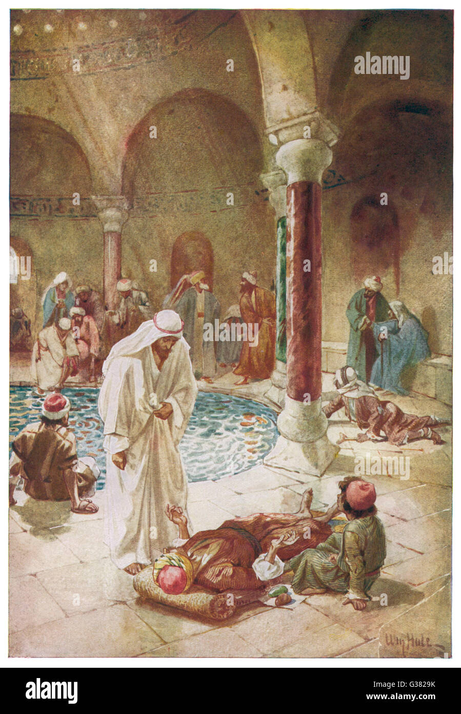 Jesus heals a crippled man at  the Pool of Bethesda, in Jerusalem - Stock Image