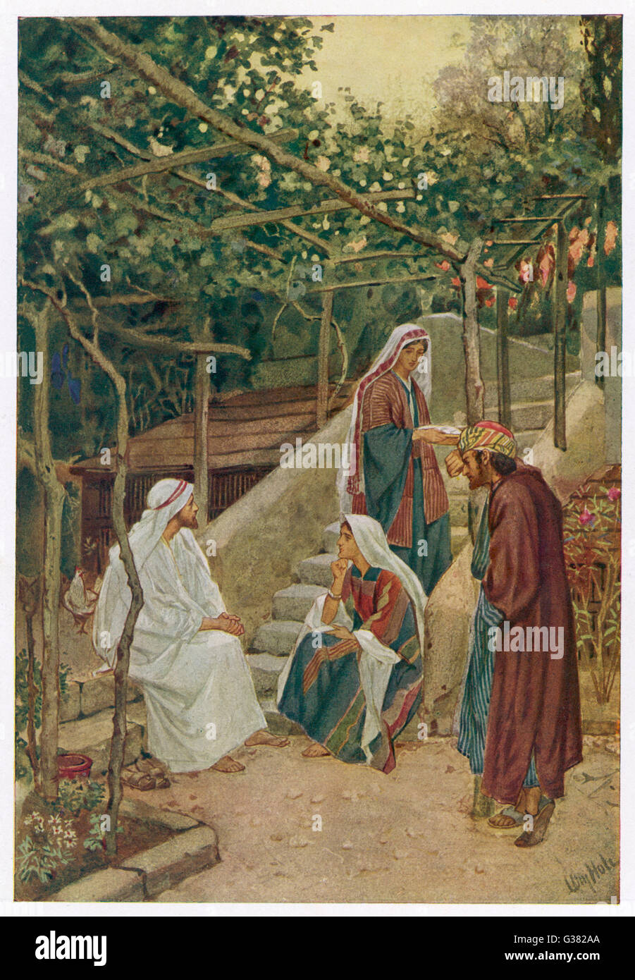 Jesus in Bethany with Mary,  Martha and Lazarus Stock Photo