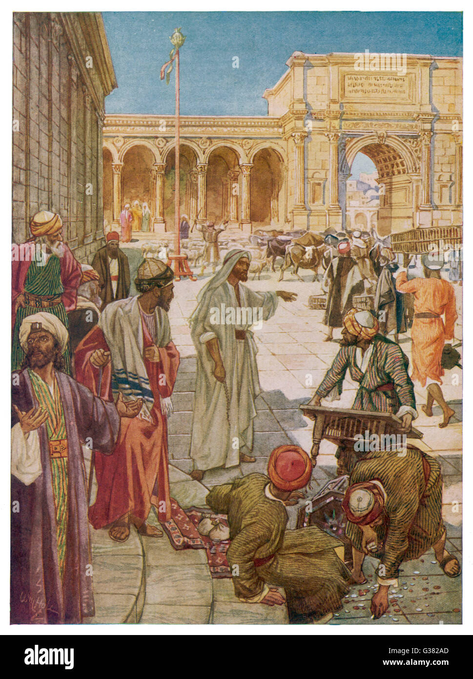 Jesus clears the merchants and  money changers from the  precincts of the Temple at  Jerusalem - Stock Image