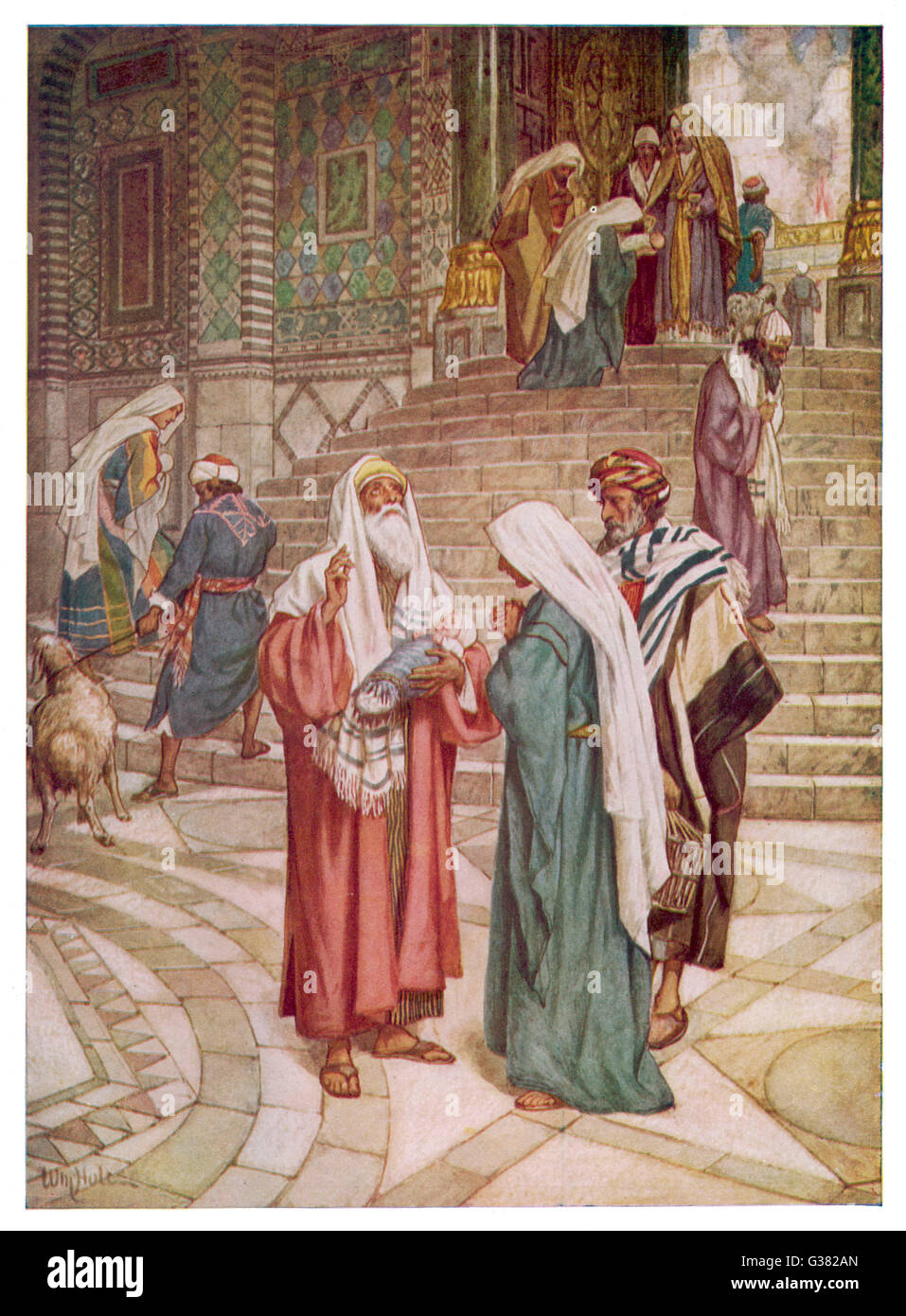 Joseph and Mary go to  Jerusalem to be purified, and  show the baby Jesus to Simeon,  who exclaims 'Now lettest - Stock Image