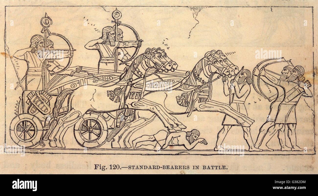 Assyrian Battle scene with  Standard Bearers - Stock Image