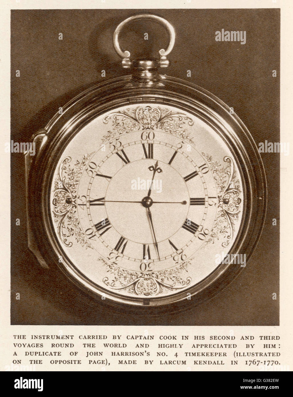 Duplicate of John Harrison's number 4 timekeeper, made by  Larcum Kendall and taken by  Captain Cook on his - Stock Image