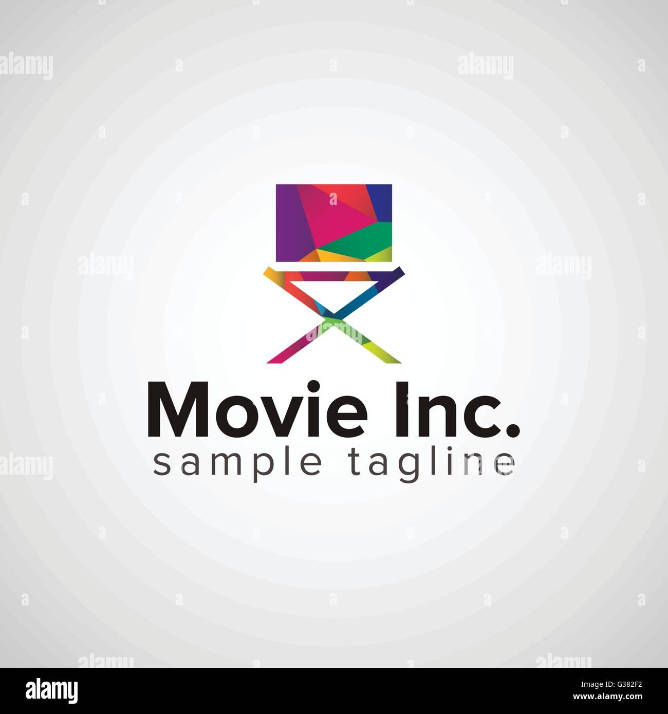 colorful cinema director chair logo design concept Stock Vector Art ...