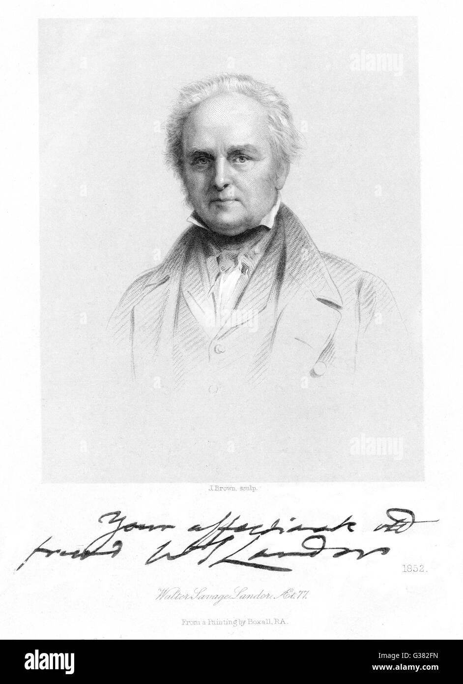 WALTER SAVAGE LANDOR -  British poet, dramatist and  prose writer       Date: 1785 - 1864 - Stock Image