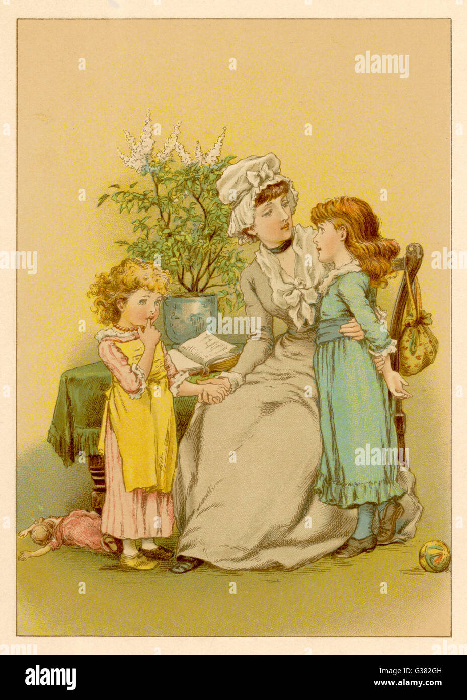 Mother and her two daughters          Date: circa 1875 - Stock Image
