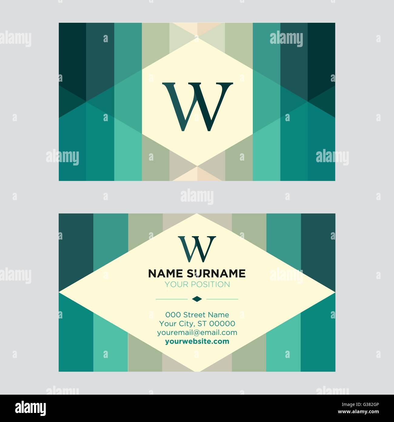 Vintage business card for companies with green color scheme Stock ...