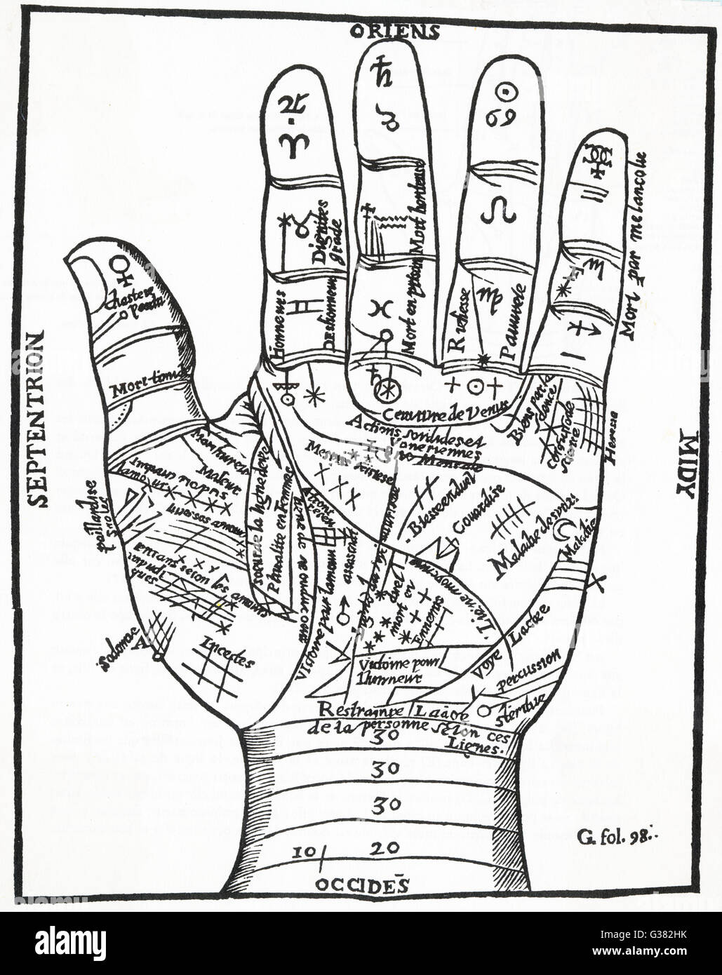 Schematic representation of  the left hand, as perceived  by Jean BELOT, Cure de Mil-Monts,  French chiromancer - Stock Image