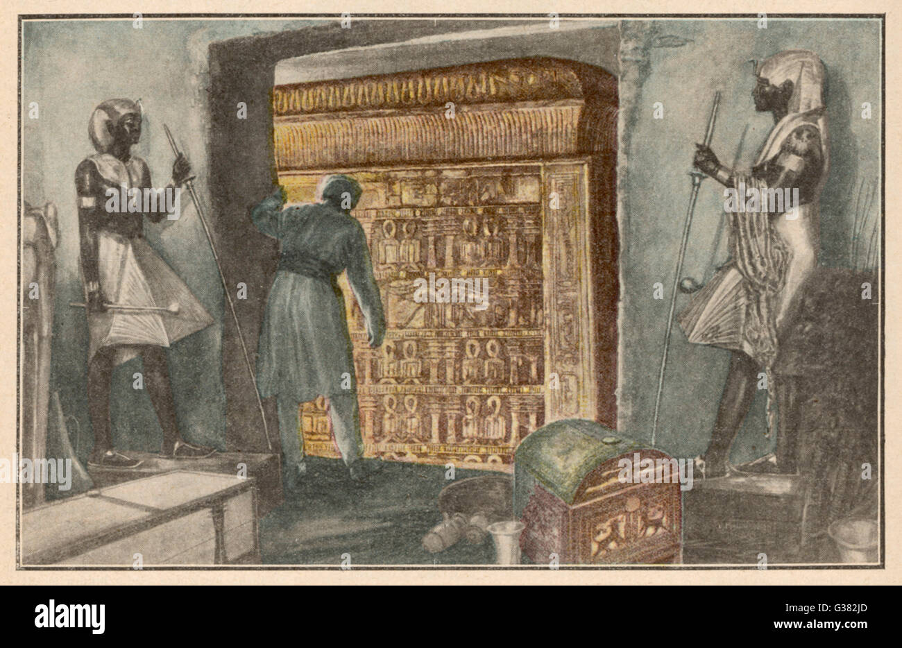 Discovering the sarcophagus  in the burial chamber         Date: 1924 - Stock Image
