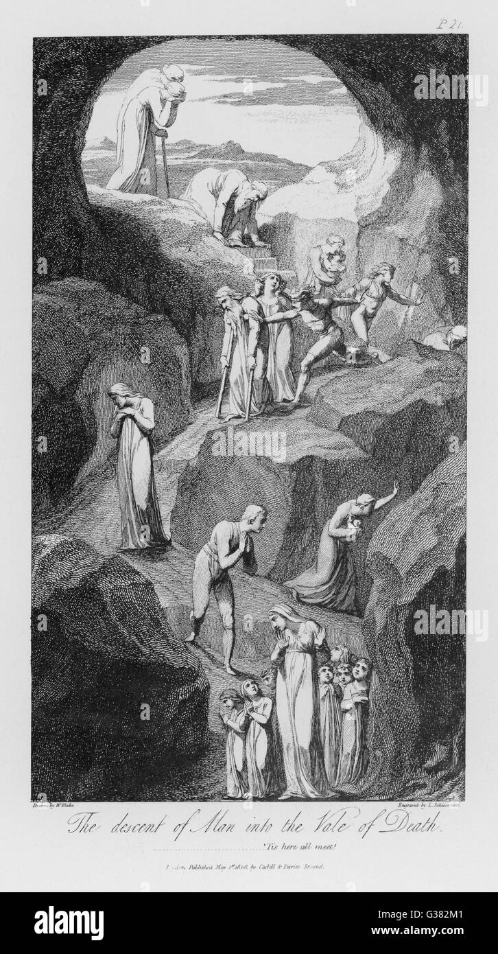The descent of man into the  Vale of Death         Date: 1808 - Stock Image