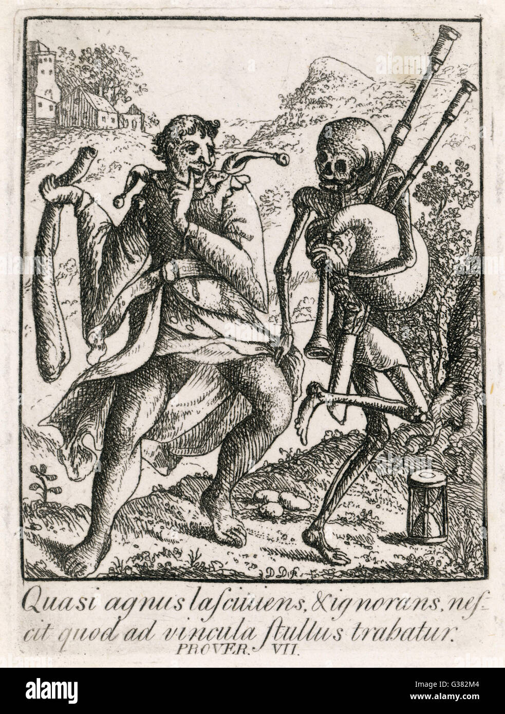 Death and the Fool          Date: circa 1500 - Stock Image