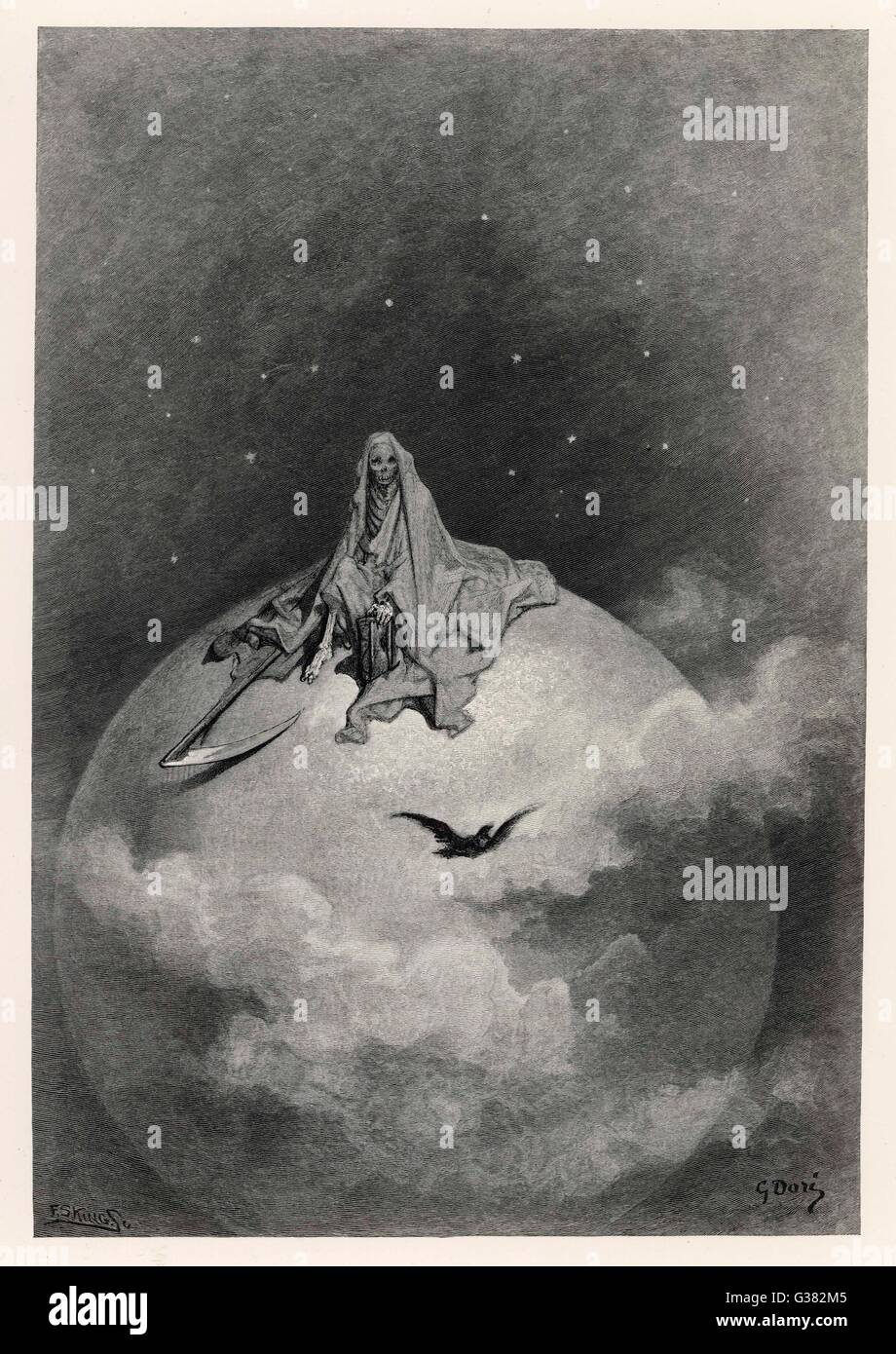 Death depicted as The Grim  Reaper, on top of the world         Date: 1883 - Stock Image