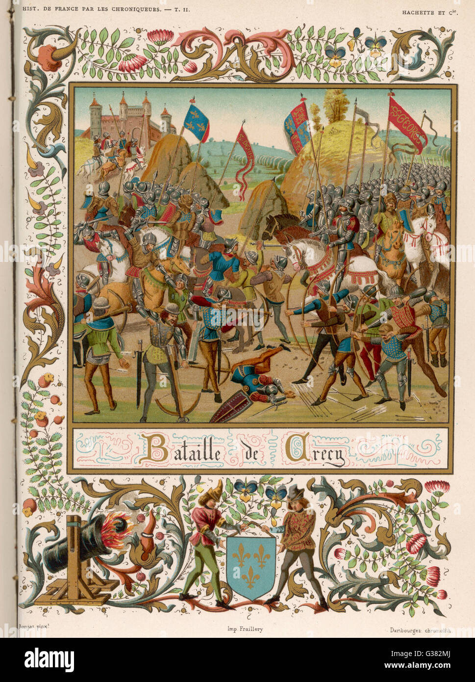 At CRECY, 9000 English  soldiers under Edward III  defeat 30,000 French under Philippe VI - a triumph of the  English - Stock Image