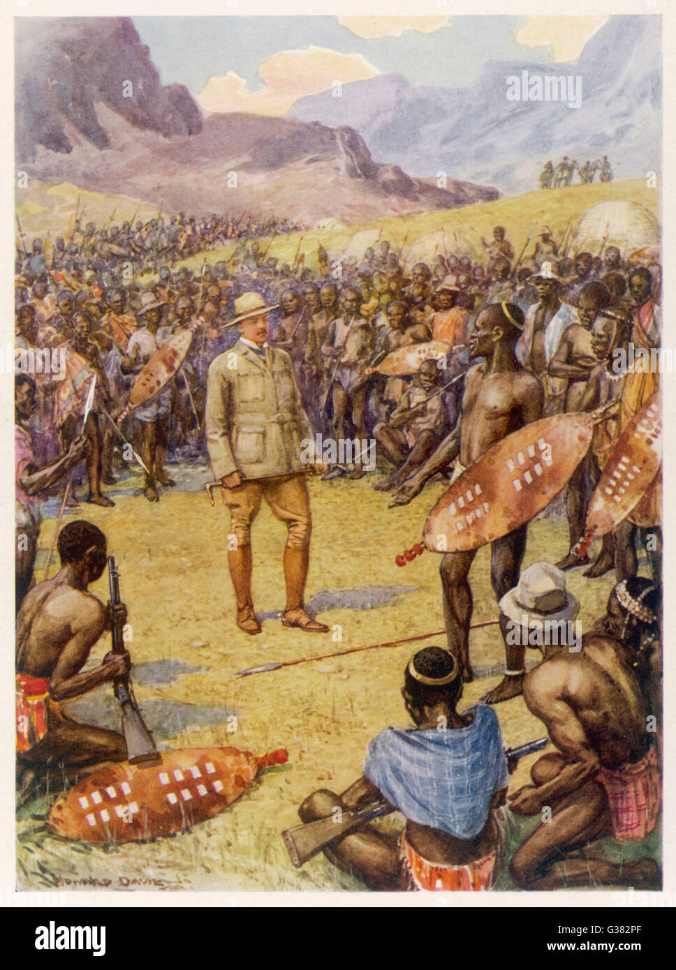 CECIL RHODES Statesman, entrepreneur and  imperialist in South Africa, making peace with the  Matabele, 1896    Stock Photo