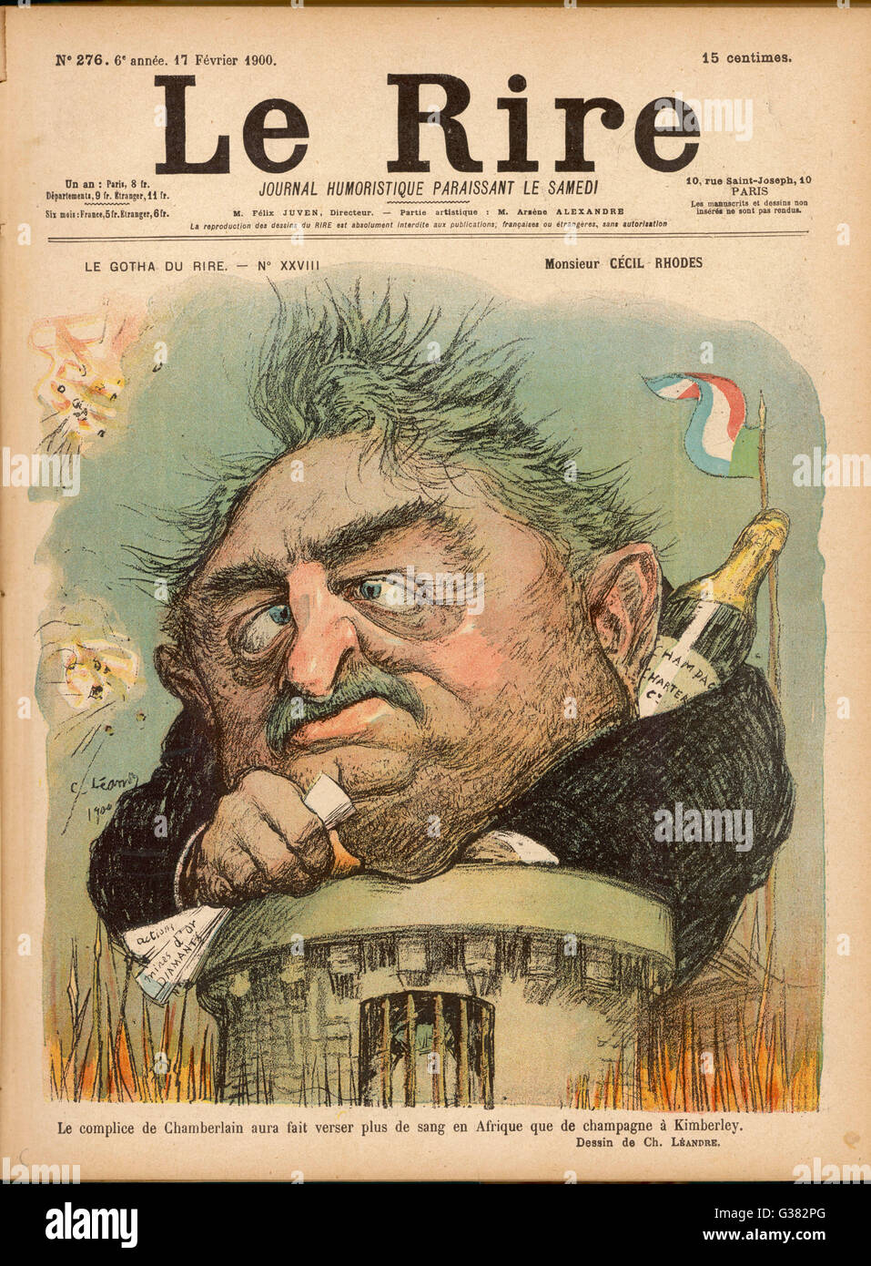 CECIL RHODES Statesman, entrepreneur and  imperialist in South Africa, caricatured by Leandre       Date: 1853  - Stock Image