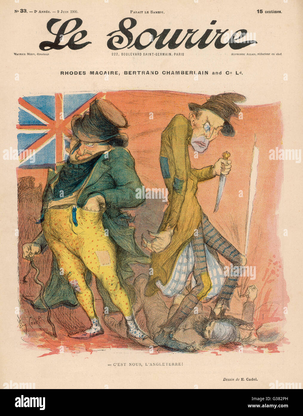 A perfidious John Bull in league with Jack the Ripper -  this is the true nature of England.  Satire on Cecil  Rhodes - Stock Image