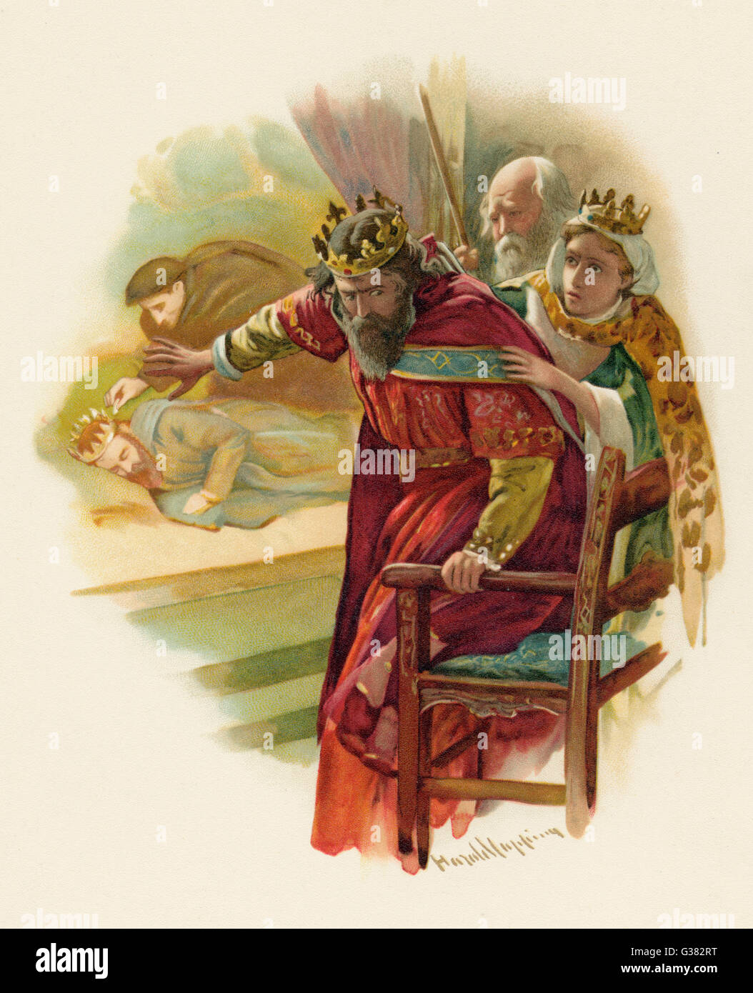 Claudius disturbed by  the play scene - Stock Image