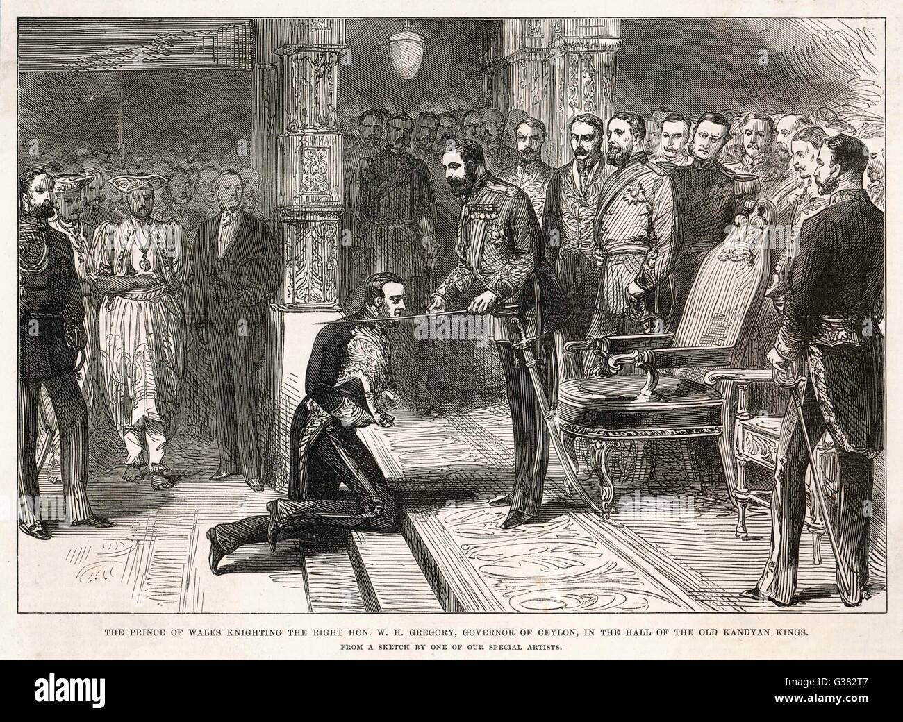 Edward, Prince of Wales,  confers knighthood on the  Governor of Ceylon, Sir William Henry Gregory (1817-1892). - Stock Image