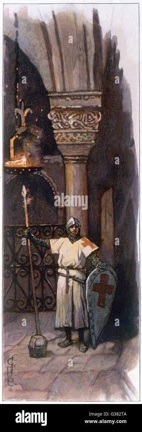 A Crusader keeps vigil at the  Holy Sepulchre, Jerusalem,  during the night before he is  made a knight       Date: - Stock Image