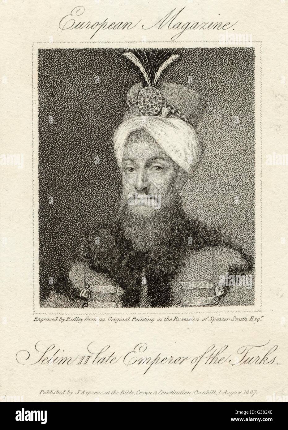 SELIM III SULTAN OF TURKEY  [note that the printed  caption is erroneous]      Date: 1761 - 1808 - Stock Image