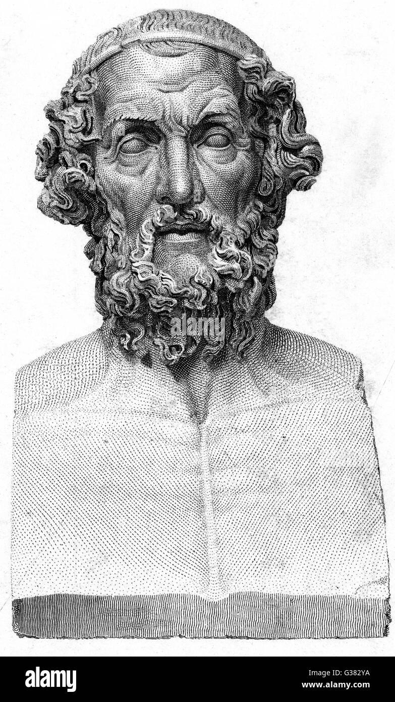 HOMER Blind Greek poet         Date: 9th - 8th Century BC - Stock Image