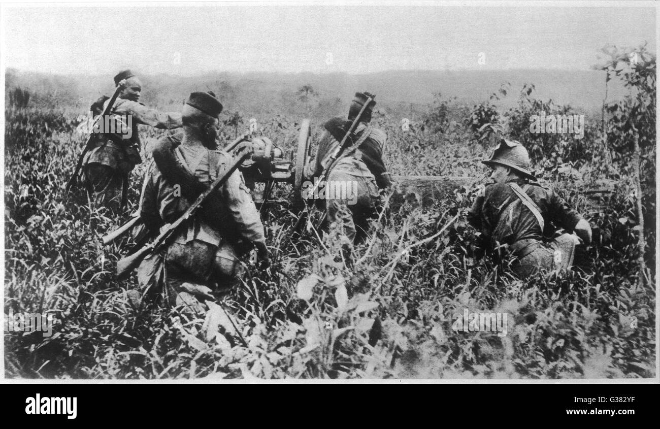 Africans (led by a British Officer) use a light artillery- piece against the Germans at  Jabassi.   1915 - Stock Image