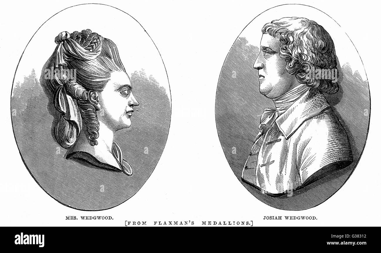 JOSIAH WEDGWOOD  English potter  Portraits of him and Mrs  Wedgwood     Date: 1730 - 1795 - Stock Image