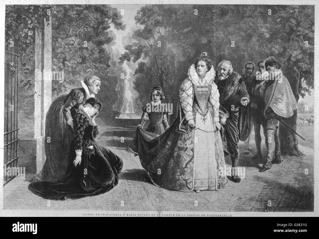 Elizabeth meets Mary Queen of  Scots in the park of  Fotheringhay - a scene from  Schiller's 'Mary Stuart' - Stock Image